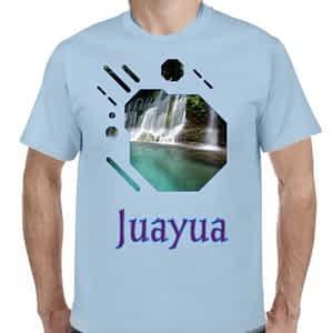 Camiseta Celeste Claro, Chorros de la Calera, Juayua, Sonsonate, El Salvador.