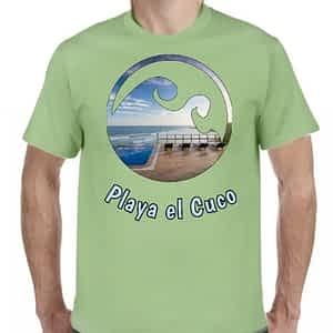 Camiseta Verde Claro, Playa el Cuco, Chirilagua, San Miguel, El Salvador.